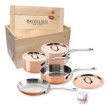 Mauviel Cuprinox M150 M'Heritage 1.5mm 7-Piece Cookware Set with Crate-Stainless Handle