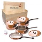 Mauviel Cuprinox M150 M'Heritage 1.5mm 7-Piece Cookware Set with Wooden Crate -Cast Iron Handles