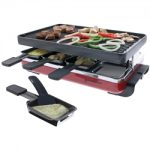 Swissmar Classic 8 Person Raclette w/ Reversible Cast Iron Grill, Red
