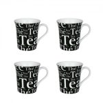 Konitz Writing on Black Mug 10 oz – Set of 4