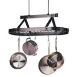 Enclume Premier Three Foot Oval Pot Rack with Grid – Hammered Steel