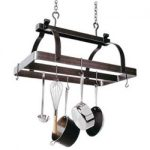 Enclume Classic Rectangle Pot Rack with Central Bar – Hammered Steel